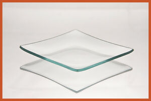 "4"" Square Clear ""BENT"" Glass Plate 1/8"""