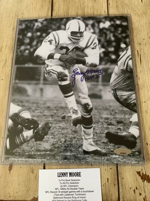 Lenny Moore Autographed/Signed 8x10 Photo TRISTAR Baltimore Colts HOF
