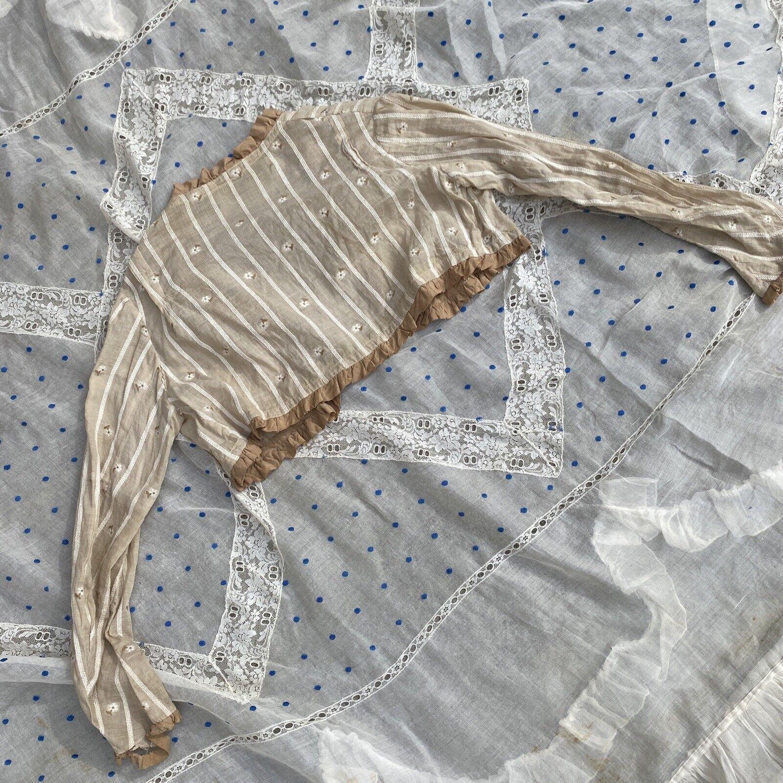 Antique Edwardian Ecru Cotton Blouse Top Embroide… - image 8