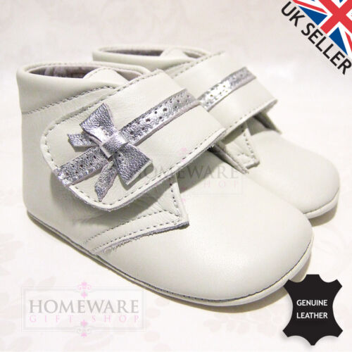 BABY PRAM PANYNO SHOES SPANISH SOFT SOLE REAL LEATHER WHITE BLUE IVORY PINK RED