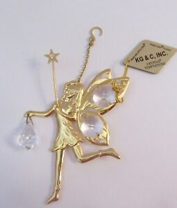 Figurine-Ornament-FAIRY-24k-gold-plated-Austrian-crystals-wings-star-clear