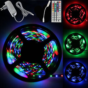 5M-3528-RGB-300-Led-SMD-Flexible-Light-Strip-Lamp-44-key-IR-12V-2A-Power-Supply