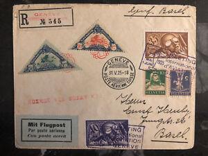 1925 Genf Schweiz Luftfahrt Tag Abdeckung #C6 C7 Semi Offizielle Briefmarken 3