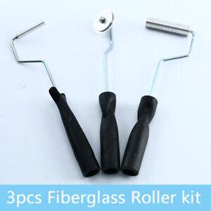 3Pcs 50mm//75mm FRP Fiberglass Roller Paddle Bubble Laminating Rolling Tool Kit