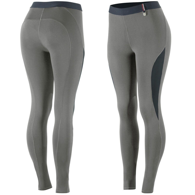 Horze  Mujer Damas Parche Rodilla Silicona gris Acero Inglés Equitación Pantalones de Montar Venta  servicio de primera clase