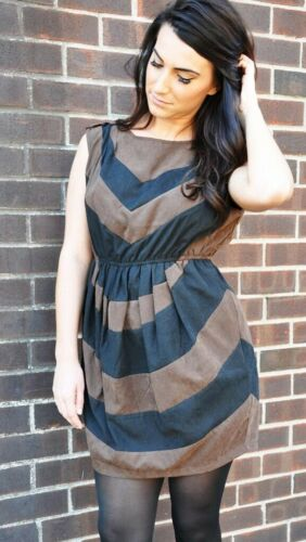 Brown and Black Color Block Mini  Dress