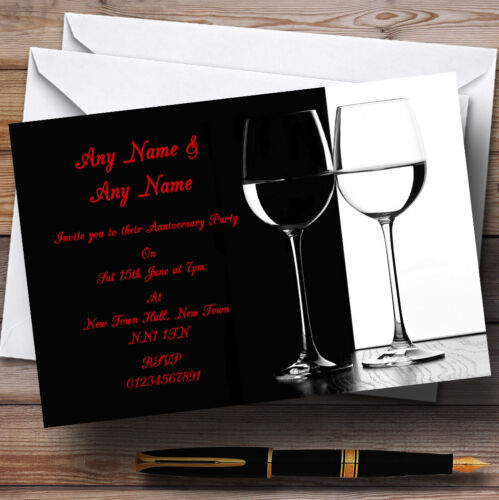 Black White Red Wine Wedding Anniversary Party Personalised Invitations