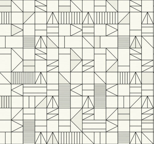 Geometric Abstract WallpaperBlack and White Wallcovering 27 in x 324 in Bolt