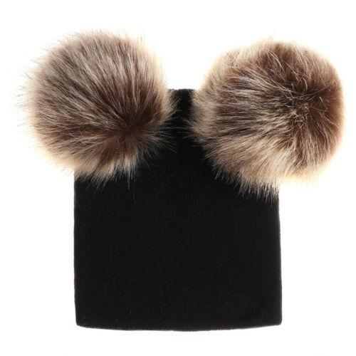 Toddler Kid Girl/&Boy Winter Warm Crochet Knit Fur Pom Hat Infant Baby Beanie Cap