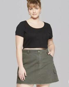 Women/'s Plus Size Short Sleeve Scoop Neck Ribbed Little T-Shirt  Black 1X
