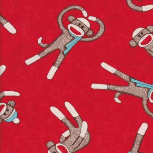 Half Metre Quilting Fabric ~ Socky Sock Monkey ~ Tossed Monkeys ~ Red