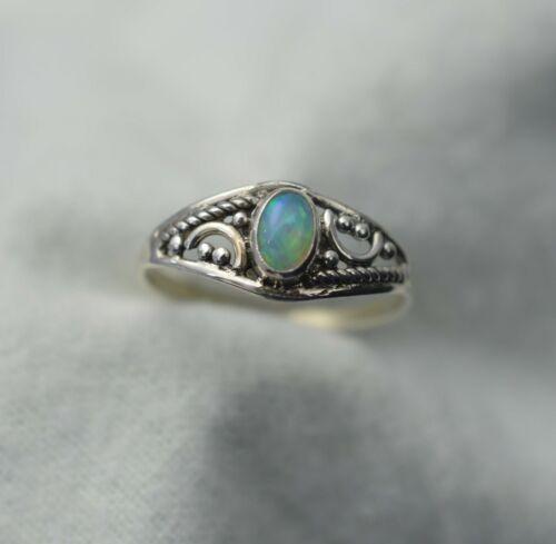 WELO etíope ópalo plata esterlina 925 Anillo de piedras preciosas ~ divinesutrasilver