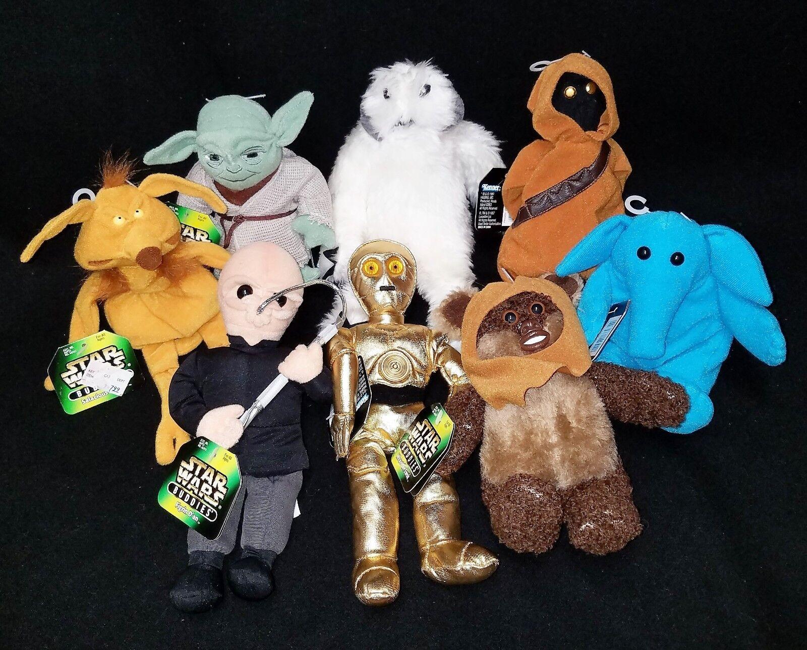 LOT 8 New Star Wars BEANIES Kenner 1998 Yoda C3PO Figrin Ewok Crumb Wampa Rebo