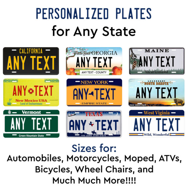 CUSTOM PERSONALIZED ALUMINUM BICYCLE MINI STATE LICENSE PLATE-CALIFORNIA