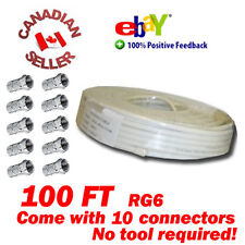 100 FT RG-6 SATELLITE COAX CABLE RG6 COAXIAL HDTV WIRE 60% BRAIDED 10 CONNECTORS