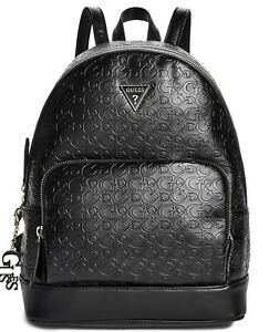 NEW-GUESS-Factory-Women-039-s-Dulce-Logo-Embossed-Large-Black-Backpack-Handbag