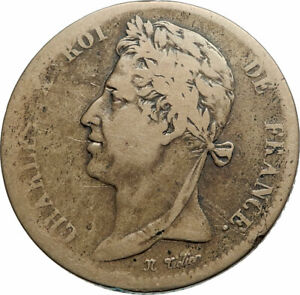 1827-FRENCH-COLONIES-King-Charles-X-Genuine-5-Centimes-Old-French-Coin-i79491
