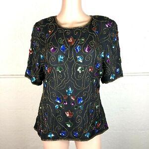 Stenay-Beaded-Blouse-Womens-Size-Large-Black-Floral-Short-Sleeve-Glam-Silk-VTG