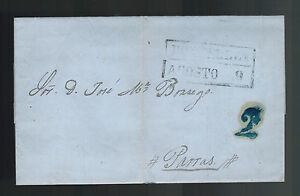 1854 Monterrey Mexico Stampless Letter sheet Cover to Parras 2