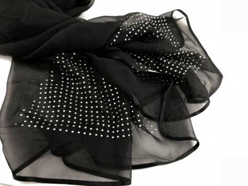 Ladies Women Beautiful Crystal Diamante Long size silk blend Scarf Shawl gift
