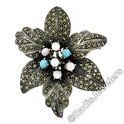 Sterling Silver Large Green /& White Enamel Clover Leaf Pin Brooch w// Marcasite