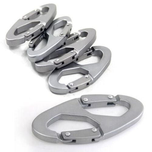 5PCS//Pack Aluminum Alloy Carabiner Keychain Snap Clip Hook 8-Shaped Keychain