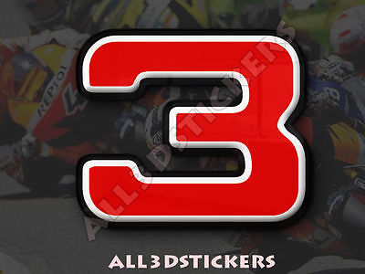3D Stickers Resin Domed NUMBER 3 THREE - Color Red - 25 mm(1 inch) Adhesive