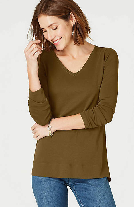 J. Jill - 3X(Plus)  Perfect 100% Pima Cotton Loden V-Neck Long-Sleeve Tee - NWT