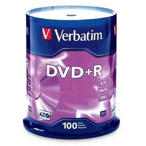 Verbatim DVD+R 4.7GB 16x AZO Recordable Media Disc - 100 Disc Spindle (FFP) -