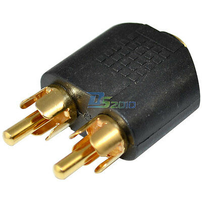 Gold Plated 3.5 mm Female to 2 RCA Male Stereo Audio Splitter Adapter Connector