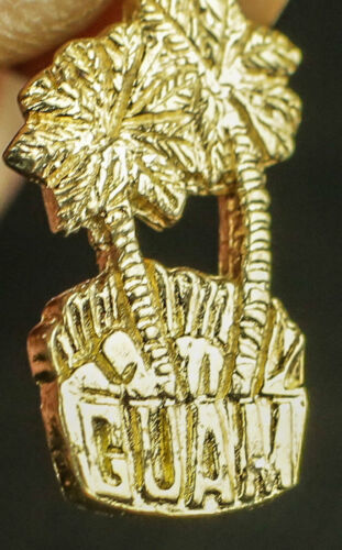 GUAM PALM TREES ISLAND USA TRAVEL 3D PENDANT CHARM .925 STERLING SILVER GOLD