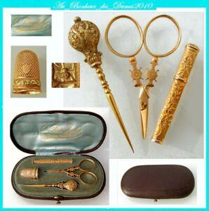 Enthousiaste Nécessaire Set Coffret De Couture Ancien Or Massif French Gold 18k Sewing Etui Beau Lustre