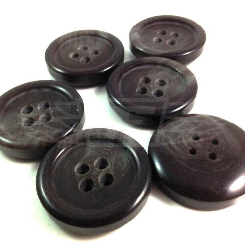 27803-48 PACK OF 25 30mm WOOD EFFECT PLASTIC FOUR HOLE BUTTON BUTTONS BTN
