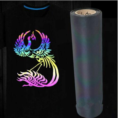 5pc Reflective Heat Transfer Vinyl HTV A4 Bundle T-shirts Iron ON Black// Rainbow