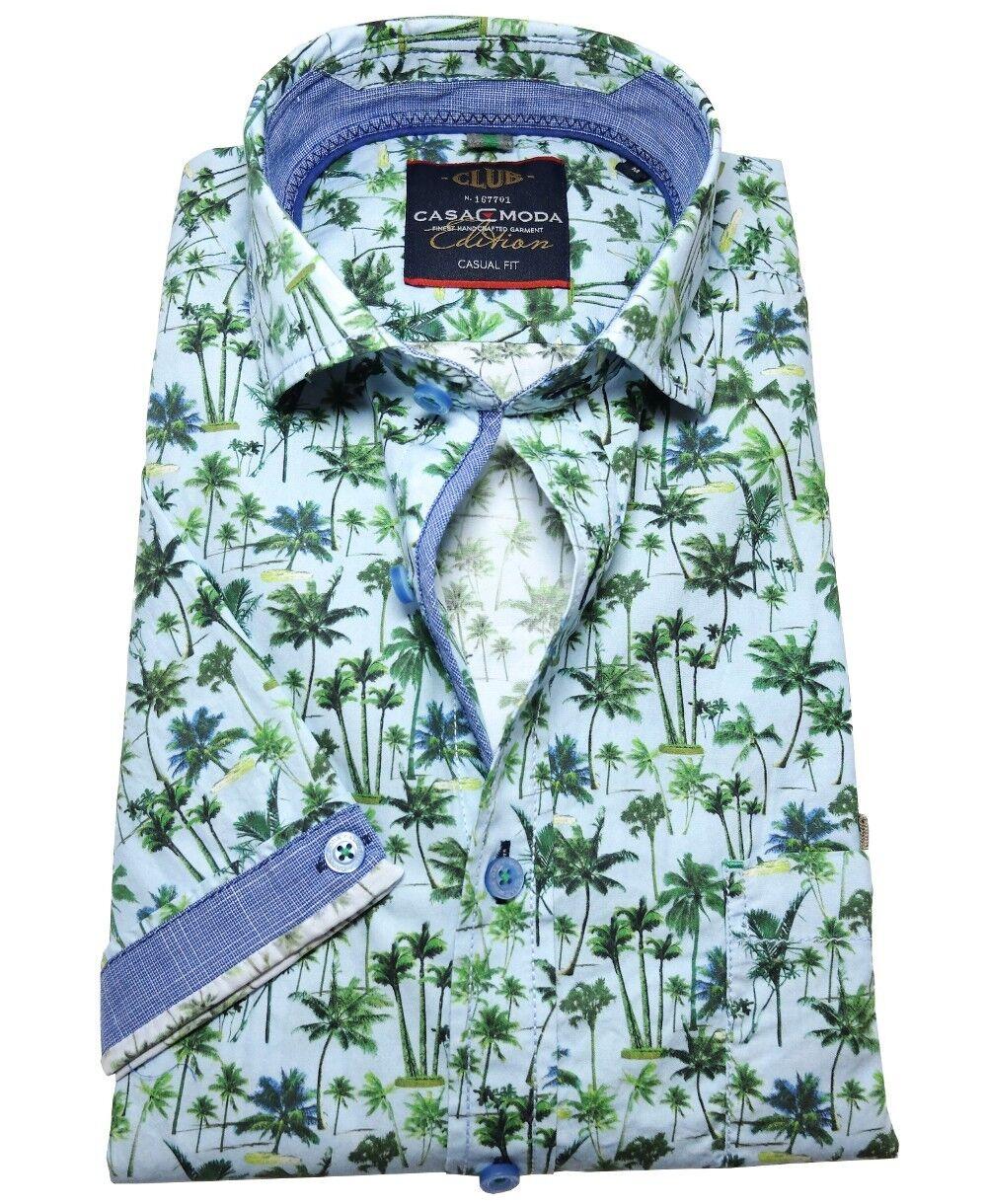 Casa Moda Casual Fit Kurzarmhemd blue green Palmendessin Gr. L und 5XL
