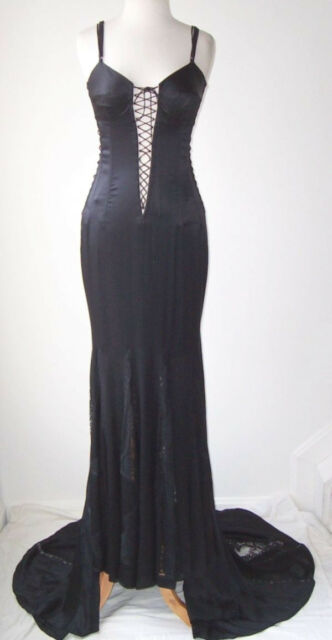 DOLCE & GABBANA Black Plunging Corset Bustier Lace Dress Gown 44 6 8