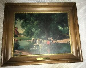 VTG-Framed-Paul-Detlefsen-Print-THE-BIG-MOMENT-17-5-X-14-5-Wagon-Crossing-Stream