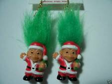 "CHRISTMAS SANTA EARRINGS - 2"" Russ Troll Dolls - NEW IN ORIGINAL WRAPPER"