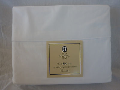 4 pc Jessica McClintock Home 600 TC Cotton Sateen White King Sheet Set $249 NIP