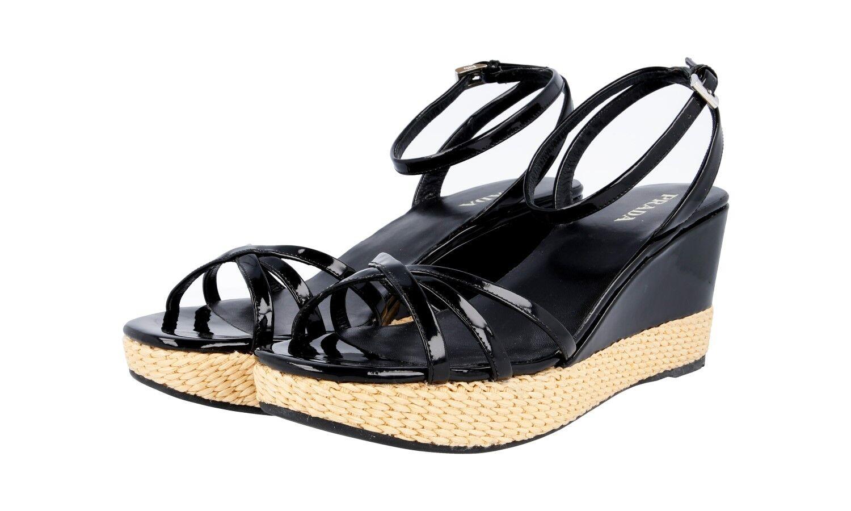 Autorización de lujo Prada Meseta Sandalias Zapatos 1X9561 Negro Nuevo Nuevo Nuevo 40 40,5 Reino Unido 7  descuento
