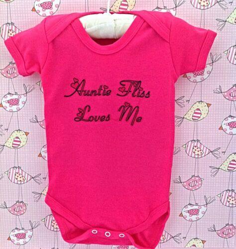 Beautiful cerise Pink baby girl PERSONALISED babygrow//bodysuit vest ANY SLOGAN