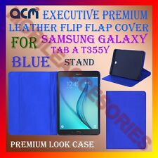 ACM-EXECUTIVE LEATHER FLIP CASE for SAMSUNG GALAXY TAB A T355Y COVER STAND-BLUE
