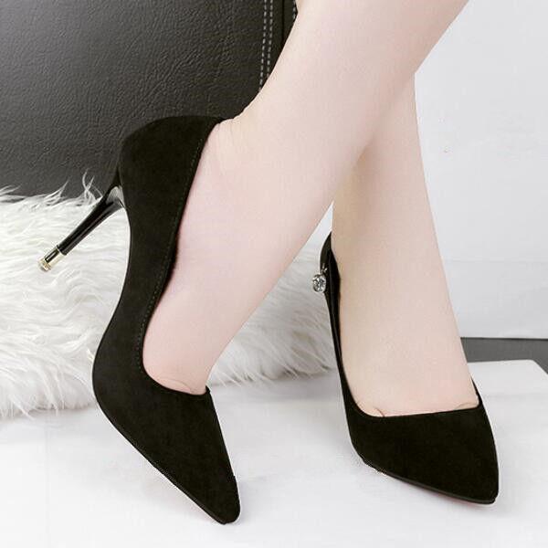 Decolte Sandale Sandale Decolte stiletto 9.5 cm eleganti nero velluto simil pelle ... b59d99