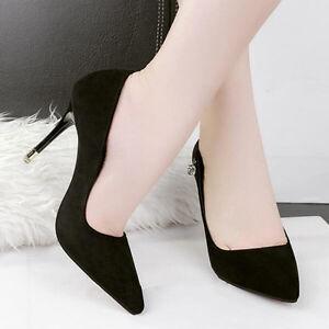 ᄄᆭscarpins chaussures pour femmes ᄄᆭlᄄᆭgant noir 9.5 cm talons aiguilles comme cuir
