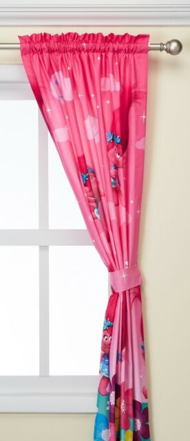 Trolls Drapes Curtains Tiebacks Girl Bedroom Pink Window Panels Kids 82x63\