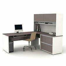 Bestar Connexion L Shaped Workstation With Hutch Multiple Colors