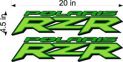 "Polaris Logo RZR WHITE PAIR 20/"" Vinyl ATV//UTV Trailer Graphic Decal Sticker"