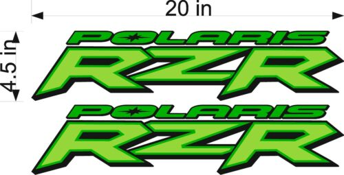 """GREEN 20/"""" Vinyl Vehicle ATV Graphic Sticker Decals Polaris Logo RZR PAIR"""
