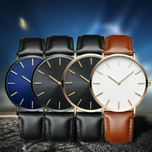 Men-039-s-New-Leather-Band-Analog-Quartz-Round-Wrist-Watch-Men-039-s-Business-Watch