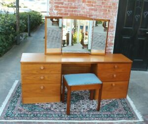 Mid-Century-English-Teak-Wood-Dresser-Vanity-With-chair